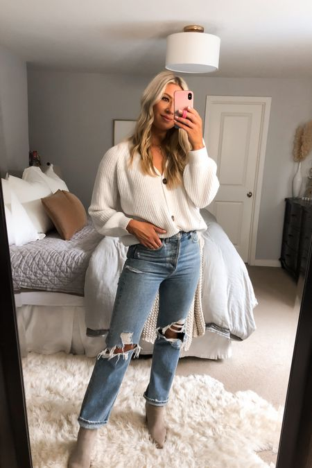 My favorite ripped denim EVA! Size down one or two. Size up one in this Amazon sweater if you want an oversized look. Booties on sale for $99 in color cloud suede   #LTKstyletip #LTKshoecrush #LTKsalealert