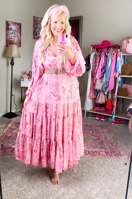 Pink floral Wedding guest dress size M Pored it with this belt - under $30 Target nude heel TTS  Pink pearl headband  Summer dress, baby shower dress, maternity dress, vacation dress http://liketk.it/3hKSG #liketkit @liketoknow.it #LTKwedding #LTKstyletip #LTKshoecrush