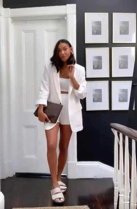 Summer outfit, white blazer casual outfit   #LTKstyletip #LTKunder100 #LTKitbag
