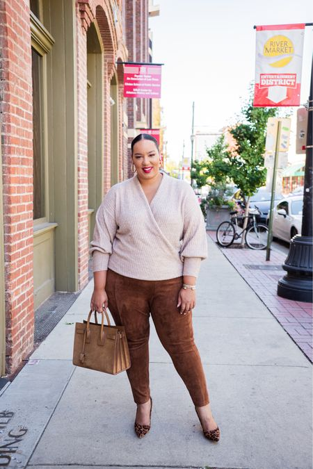 Which look would you wear? I styled this super cute sweater from @nordstromrack but couldn't decide If I like the brown pull on pants or the denim more. Both looks are from Nordstrom Rack and linked in my LTK and in stories #ad #nordstromrack   #LTKcurves #LTKunder100 #LTKSeasonal