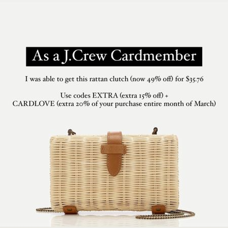 As a J.Crew Cardmember I was able to get this rattan clutch (now 49% off) for $35.76. Use codes EXTRA (extra 15% off) +  CARDLOVE (extra 20% off your purchase entire month of March). @liketoknow.it http://liketk.it/3aiGG #liketkit #LTKitbag #LTKSeasonal #LTKunder50