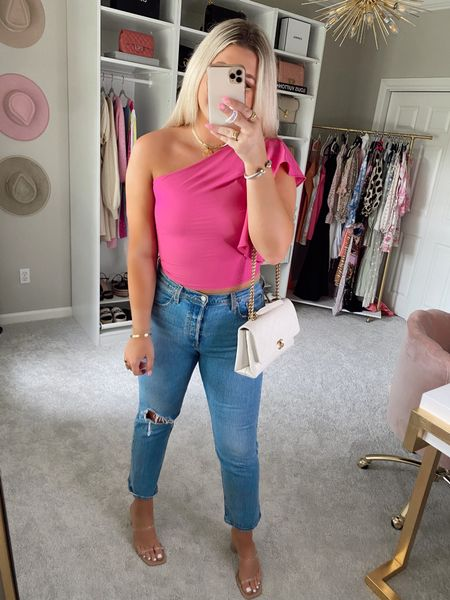 Top - medium but need large  15% off with code SIDNEY15  @liketoknow.it http://liketk.it/3hChb #liketkit #LTKstyletip #LTKunder50 #LTKshoecrush   Pink one shoulder ruffle crop top  Hot pink top  Birthday top / summer outfit / vacation outfit  Levi 505 denim jeans  Outfit inspo