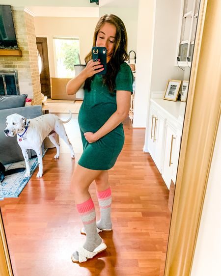 Pregnancy work from home look 🤷♀️ living in compression socks after a long day on my feet! http://liketk.it/3hwTY #liketkit @liketoknow.it #LTKbump