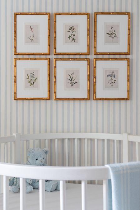 Nursery decor, baby boy nursery, botanical prints, blue striped wallpaper   #LTKbump #LTKfamily #LTKbaby
