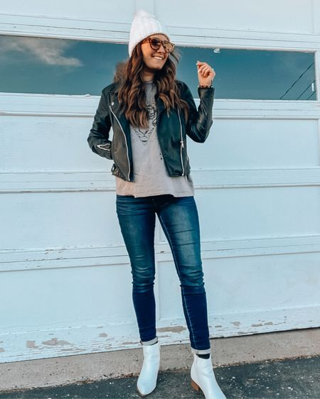 My Moto leather jacket is on sale for only $15!!! My favorite leather jacket to pair with jeggings On sale for under $30 and my white booties. Goes perfectly with a cute band tee and hat💗💗 http://liketk.it/32muW #liketkit @liketoknow.it #LTKgiftspo #LTKsalealert #StayHomeWithLTK Shop my daily looks by following me on the LIKEtoKNOW.it shopping app