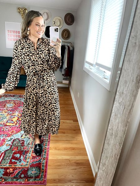 Midi dresses from amazon! This leopard print dress is so fun, also probably not everyone's cup of tea but if you pair it with a leather jacket it makes it much more of a neutral, and my black mules are also amazon   #LTKstyletip #LTKshoecrush #LTKunder50