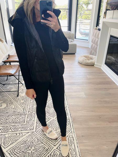 Back in black in comfy @evereveofficial favorites // medium leggings; small top // medium vest//size down in shoes.  #LTKunder100 #LTKshoecrush #LTKstyletip