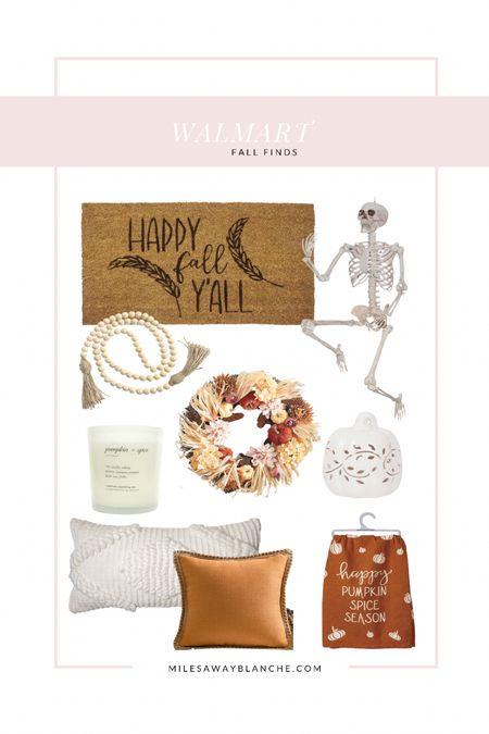 Walmart Fall finds - including pumpkins, a skeleton and fall pillows   #LTKHoliday #LTKhome #LTKunder50
