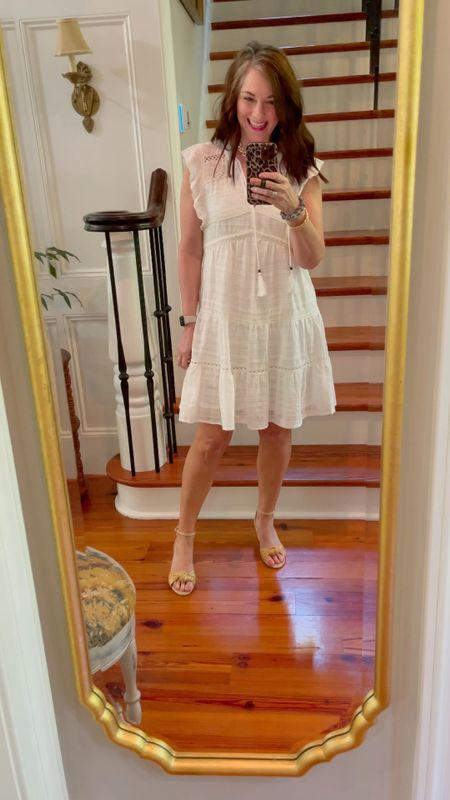 Loving this lightweight, flowing white dress from Target for summer! The skirt is lined.     #LTKstyletip #LTKunder50 #LTKSeasonal