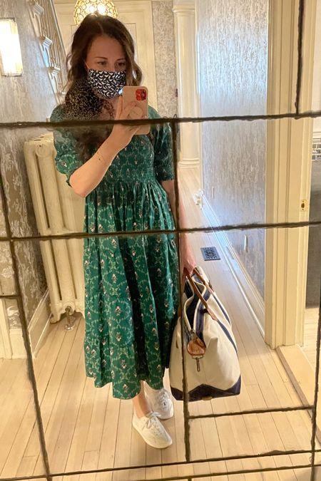 Hill House nap dress in emerald and white sneakers with monogrammary travel bag http://liketk.it/3dD9T #liketkit @liketoknow.it #LTKtravel #LTKshoecrush #LTKstyletip