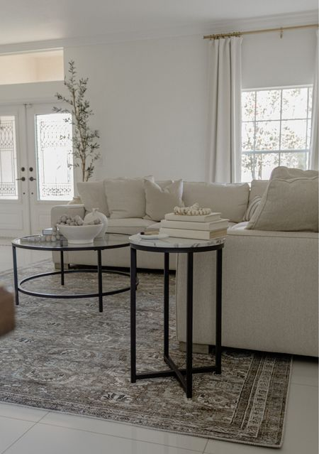 Living Room essentials for a cohesive look   1. Coffee table with statement home decor pieces 2. Accent table or drink table 3. Statement Area rug   To complement your living room look, add a faux olive tree using my code INSTA25 for 25% off   #LTKsalealert #LTKhome