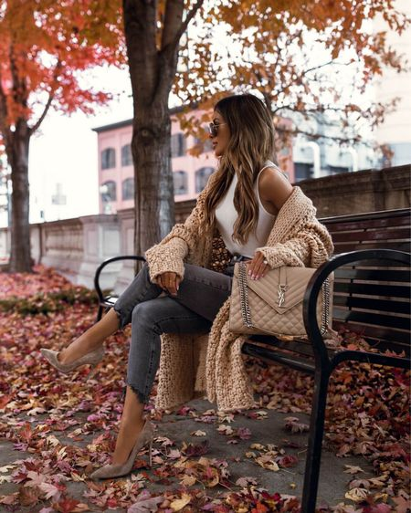 Casual fall outfit ideas  Chunky camel cardigan  Gray jeans Express bodysuit Gianvito Rossi Suede Pumps   #LTKSeasonal #LTKunder100 #LTKstyletip