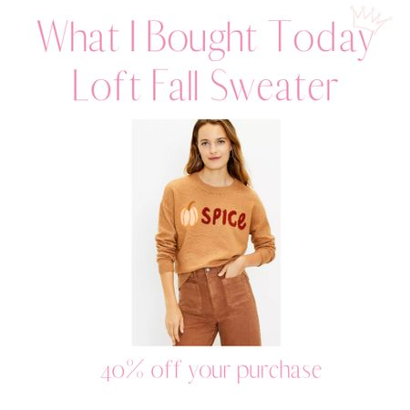 Loft has so many great fall themed sweaters right now and they're having a 40% off sale! I picked this one up and can't wait to wear if!   #LTKSeasonal #LTKunder50 #LTKsalealert