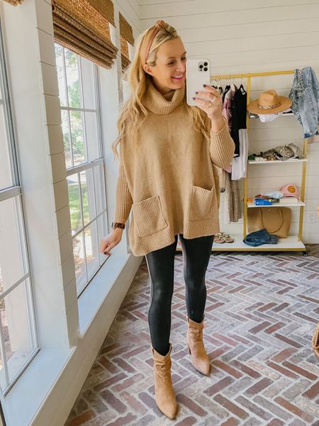 The perfect poncho from loft that's on sale today and perfection with my fave spanx leggings. // wearing xs in both, tts   #LTKstyletip #LTKSeasonal #LTKsalealert