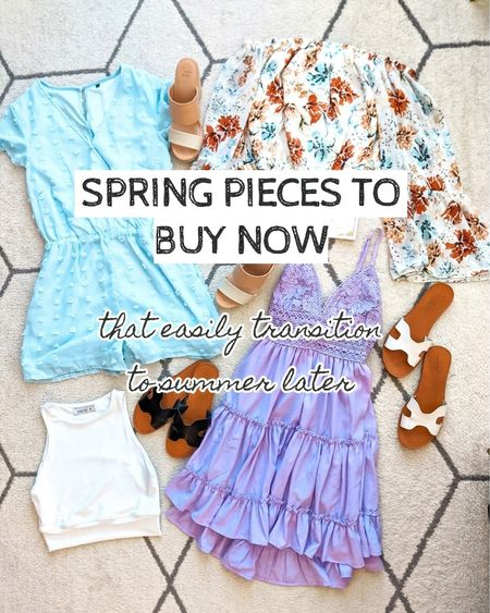 Buy now and wear later too! Wear these pieces for both Spring and summer. Spring outfit, spring look. Romper, off shoulder top, summer top, Pink Lily dress, athletic crop top, black and white slides sandals. http://liketk.it/39bLM @liketoknow.it #liketkit #LTKSeasonal #LTKsalealert #LTKstyletip #LTKunder50 #LTKunder100 #LTKfit #LTKworkwear #LTKshoecrush #LTKtravel