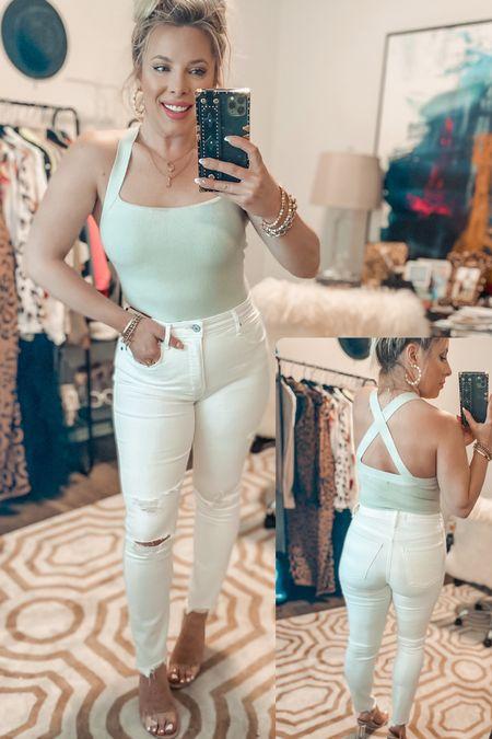 White jeans   bodysuit   skinny jeans   Abercrombie   summer outfit   #LTKSeasonal #LTKunder50 #LTKunder100