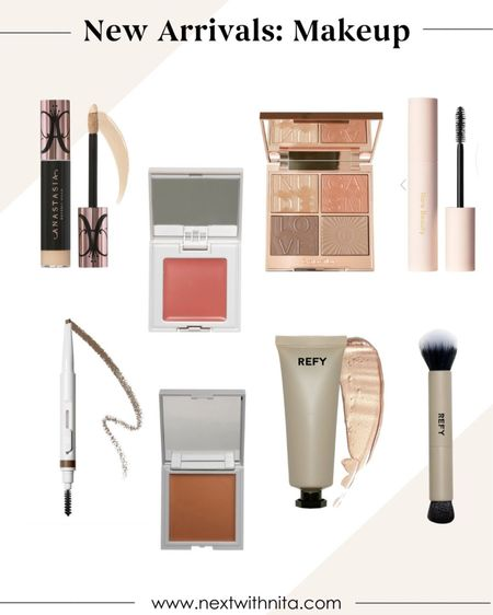 New makeup arrivals including Charlotte Tilbury palette, REFY highlighter, cream blush, cream bronzer, eyebrow pencil, Rare beauty mascara, and more.   #LTKunder100 #LTKbeauty #LTKstyletip