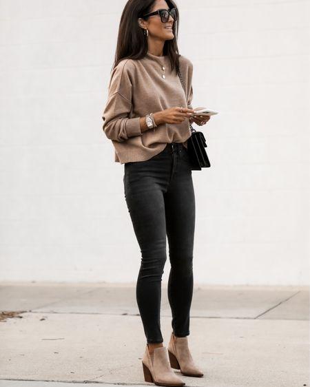 Fall style, cashmere sweater, booties, accessories, StylinByAylin   #LTKunder100 #LTKSeasonal #LTKstyletip