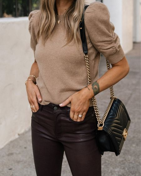 This tan uff sleeve sweater is so pretty for fall! Love it paired with these burgundy leather pants #falloutfit #sweaters  #LTKworkwear #LTKstyletip #LTKunder100