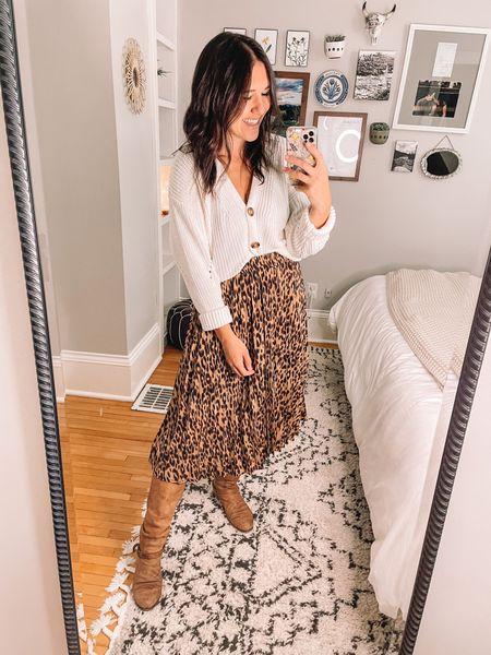 Amazon fashion midi skirt (M) Walmart fashion cardigan (S) Knee high boots, fall outfits Teacher outfits, workwear outfits  #LTKSeasonal #LTKstyletip #LTKworkwear