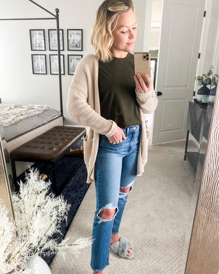 What most of my work from home outfits are consisting of: favorite jeans (when I just can't do sweatpants anymore), comfy tee, cardigan, and of course cozy slippers. Anyone else just living in slippers these days?? • Sharing some tips on my stories on how I find the perfect jeans online every time 👌🏻  http://liketk.it/2MypN @liketoknow.it  •  #liketkit #StayHomeWithLTK #LTKstyletip #LTKunder50