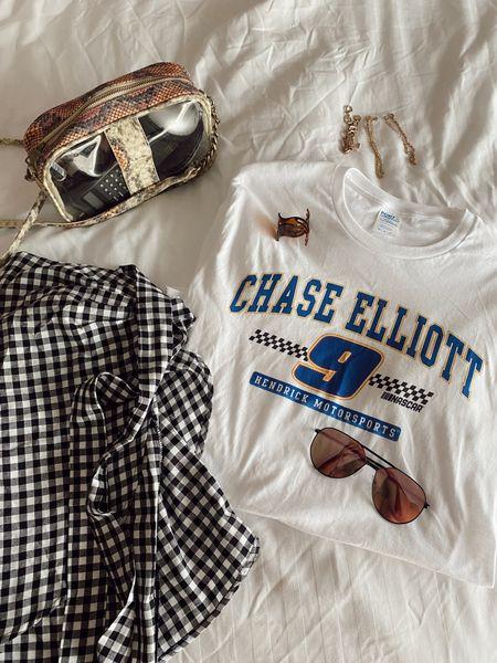 Race day + nascar racing + travel outfit + summer skirt + wedding skirt  #LTKSeasonal #LTKbeauty #LTKtravel #summer #summerfashion
