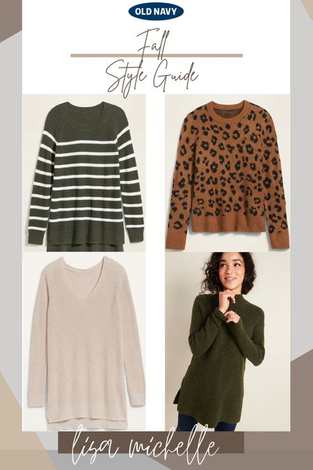 Fall old navy style guide. Women's sweaters. Women's sweater tunics. Turtlenecks. Crewneck sweaters. Leopard print sweaters. #LTKfall #LikeToKnowIt #LTKUnder50 #OldNavy #Leopard #Sweaters#TurtleNeck #Crewneck #SweaterTunic