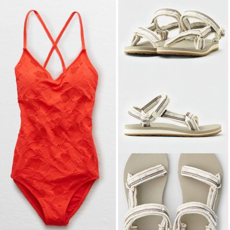 Adventure swim | cute waterproof explore universal Teva sandals neon red one piece swimsuit | Spring and Summer styles #liketkit #LTKshoecrush #LTKswim #LTKtravel @liketoknow.it http://liketk.it/2NT0P