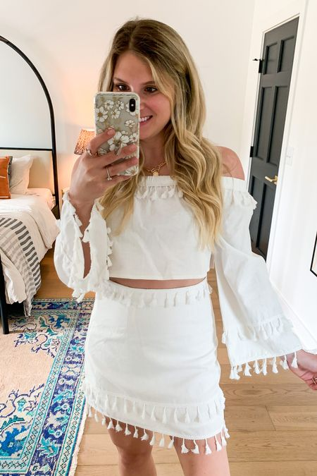 White two piece set perfect for a bachelorette party also comes in other colors - black pink blue orange etc!   Can be worn as separates fringe top fringe skirt white amazon summer dress summer outfit beach outfit   #LTKstyletip #LTKwedding #LTKunder50