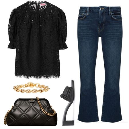Pair a black top with black accessories for an instantly chic outfit 🖤 This look would be perfect for date night! Shop my daily outfit inspo by following 'merrittbeck' on the LTK app!  #tssedited #thestylescribe #ootd #outfitinspo #datenight #fall #lace #farfetch  #LTKstyletip