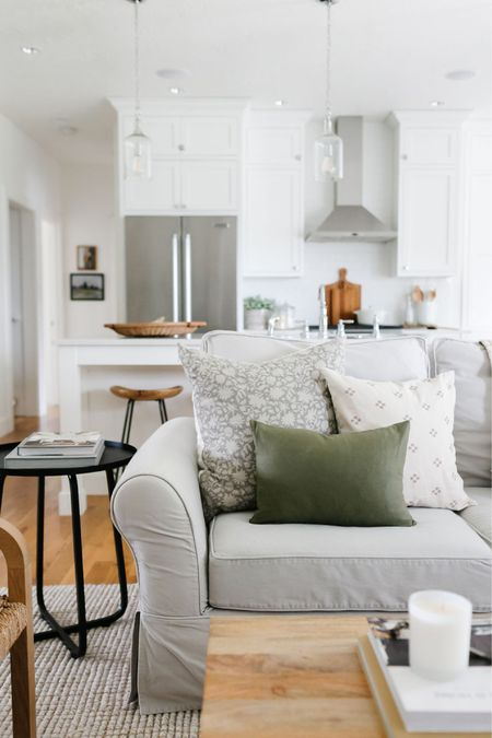 Living room decor inspiration. I'm loving the gray floral pillow mixed with a neutral and green on my Pottery Barn couch.   #LTKunder100 #LTKhome #LTKunder50