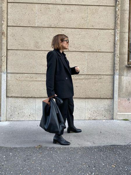 black wool blazer + oversized tote bag  #LTKworkwear #LTKunder100 #LTKeurope