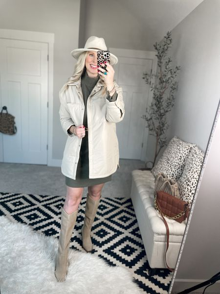Abercrombie jacket - medium  Sweater dress - m tall     #LTKunder100 #LTKsalealert #LTKSale