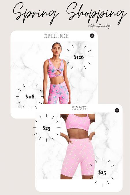 Splurge vs save. Loveshackfancy dupe floral style. Beach riot. Floral activewear. Bike shorts. Biker shorts and matching bra. Cute workout clothes for summer and spring.    http://liketk.it/3dnkG #liketkit @liketoknow.it #LTKunder50 #LTKsalealert #LTKstyletip