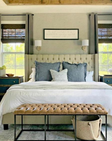 Our master bedroom! In love with our linen bedding, leather bench, cozy throw pillows, neutral rug, and modern farmhouse decor!    http://liketk.it/3pech       @liketoknow.it  #liketkit #StayHomeWithLTK #LTKhome #LTKunder100 @liketoknow.it.home  bedding, master bedroom decor, fall decor, headboards, sconces, side tables, rugs, neutral rug, bedroom bench, leather bench.
