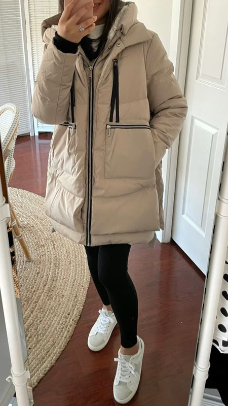 """Sam Edelman coat in size XS. Very oversized fit on me. I'm 5' 2.5"""" and currently 111 pounds. Curiously it was labeled as the Amazon coat when it shipped from Marshalls so maybe they just but their label on the same coat from the same manufacturer. 🤔 Star sneakers laces run short so I untied it by one row to tie a decent bow.   Note I found the coat at Marshalls (and T.J. Maxx) recently but it sold out on their website.  Note: Squeaky voice is due to speeding up the video. 😅   @liketoknow.it http://liketk.it/36Efn #liketkit   #LTKSeasonal #LTKsalealert #LTKunder100"""