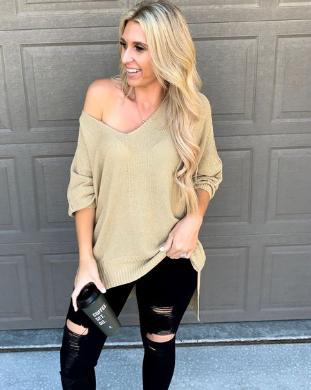 Looking forward to fall outfits! Oversized sweaters and distressed black denim jeans! I tagged my favorite halo hair extensions, too! #competition   #LTKstyletip #LTKSeasonal #LTKunder50