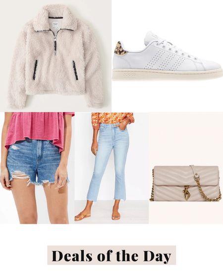Deals of the day, daily deals, today's deals, sherpa pullover, white sneakers, boyfriend denim shorts, mini bag, wallet bag, crop flare jeans   #LTKsalealert #LTKunder50 #LTKunder100