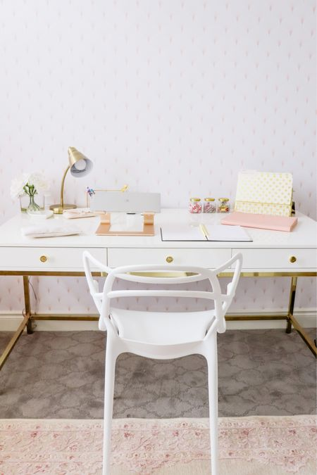 Pink, white & gold office decor ✨  http://liketk.it/3aN3f #LTKhome #LTKsalealert #LTKstyletip @liketoknow.it #liketkit @liketoknow.it.home