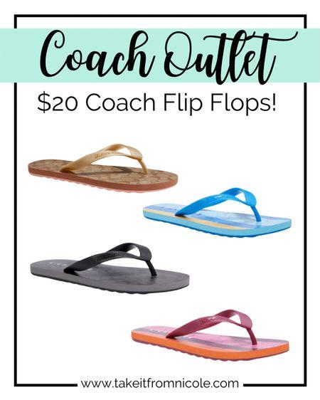 OMG GO! $20 Coach flips flops at Coach Outlet and you'll score free shipping when you login!  Sandals / summer / vacay / vacation / deal / sale /    http://liketk.it/3hSrI #liketkit @liketoknow.it #LTKunder50 #LTKsalealert #LTKshoecrush