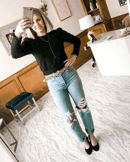 As I lay here in bed with my sick lil guy while he sleeps 😢 I thought I'd share some of my FAVORITE jeans! Mama doesn't get out much but when I do these are now my go to jeans of choice! Love the high rise and loose fit look with fun sweaters now and tees in spring/summer. Shop your screenshot of this in the @liketoknow.it app and grab yourself some. I sized up one size - just FYI. :) http://liketk.it/2L3N2   #liketkit #fashionblogger #momwear
