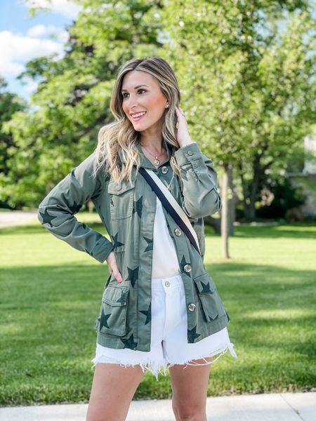 Outfit of the day: military inspired star jacket from Target and distressed denim mom shorts from Abercrombie.    http://liketk.it/3gQu3 #LTKDay #LTKunder100 #LTKstyletip #liketkit @liketoknow.it