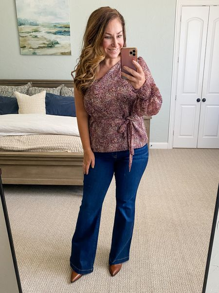 Gibsonlook x Hey Nasreen Collection perfect for fall use code RYANNE15 for 15% off  Blouse, L // Spanx flare jeans size XLP // booties size up 1/2  Fall outfits  Date Night  Off the Shoulder One shoulder  Family Photos    #LTKsalealert #LTKcurves #LTKSeasonal