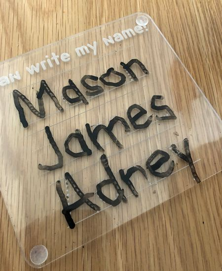 So happy I bought this acrylic name tracing board for Mason to practice writing his name on. It's great if you have a preschooler. They also has the alphabet and number tracing boards.   #LTKunder50 #LTKbacktoschool #LTKhome