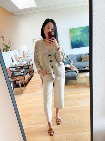 One cardigan, three ways! #ad Next, I'm pairing it with effortlessly casual pants. Tone on tone is my favorite way to dress. I'm wearing a size 2 in the pant and Small in the cardigan. #WalmartFashion   #LTKstyletip #LTKunder50 #LTKSeasonal