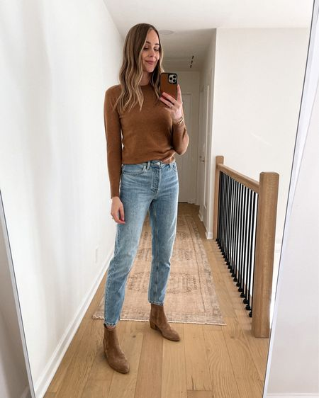 Everlane fall sweater, Everlane jeans, booties, #falloutfits #booties #sweaters   #LTKstyletip #LTKunder100 #LTKshoecrush