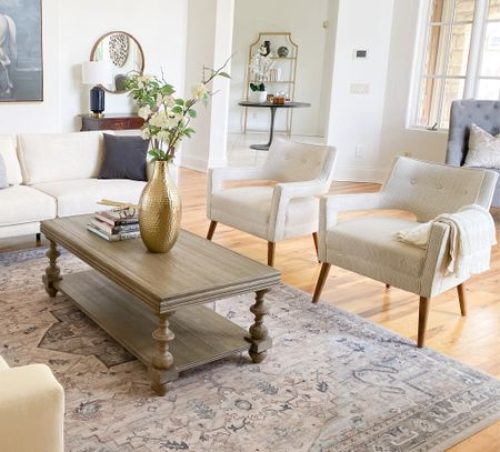 Love this pedestal coffee table and neutral accent chairs in this traditional living room.  Accent chairs, coffee table, living room decor, traditional decor, area rugs, neutral decor  #LTKhome