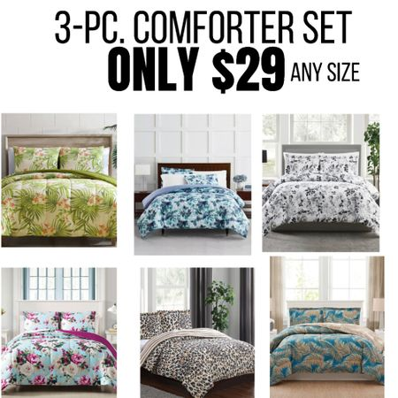 3 pc Comforter Bedding Sets only $29! Lots of colorful patterns just in time for Summer! Click on any image to shop that style. #home #bedding #decor #comforter http://liketk.it/3gdS2 #liketkit @liketoknow.it #LTKhome #LTKsalealert #LTKunder50