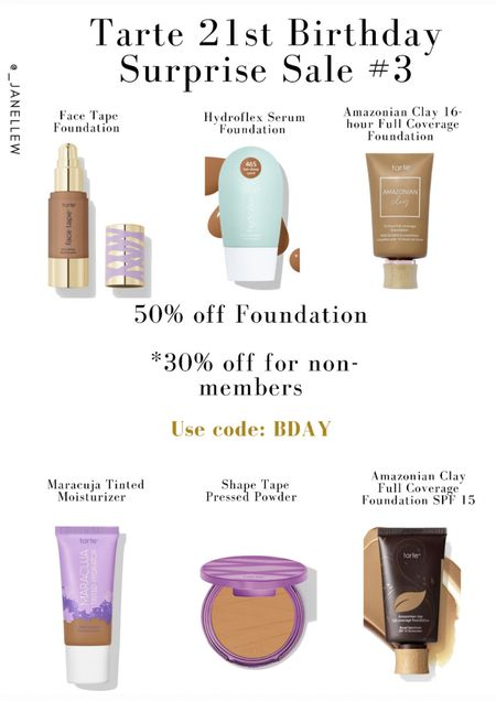 And the Birthday celebration continues…🎉🥳🎊🎁 #tarte #tartecosmetics #cosmetics #foundation #makeup #tintedmoisturizer #tint #liquidfoundation #mattefoundation #dewyfoundation #powder #pressedpowder #halfoff #sale #birthdaysale #ltkholiday #ltkseasonal #waterproof #longwear #longwearfoundation #skintones   #LTKsalealert #LTKbeauty #LTKGiftGuide