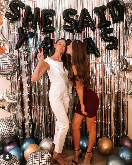 """Jumpsuits are really becoming a staple in my closet & I'm not upset about it 💋💍🥂✨ • • • • This white jumpsuit was probably my favorite look from my entire bachelorette weekend 💕 Edgy, comfortable, cute, trendy but still classy & classic ✨ • • • •  Check out my looks from my Miami bachelorette weekend! My theme was """"Emily's Last Disco""""!  #bacheloretteweekend #miamibachelorette #beachday #discobachelorette #bacheloretteoutfit #bachelorettelook #whitejumpsuit #bachelorettewhitejumpsuit #bridejumpsuit #rednight #redbridesmaids #redbachelorette #brideclip #discolook #discodecor #rehearsaldinner #rehearsaldinneroutfit #bridalshower #bridalshoweroutfit #weddingshower #weddingshoweroutfit #wedding #brideoutfite #bride #brideclothes #whiteoutfit   http://liketk.it/31DC3 #liketkit @liketoknow.it http://liketk.it/37WEr"""